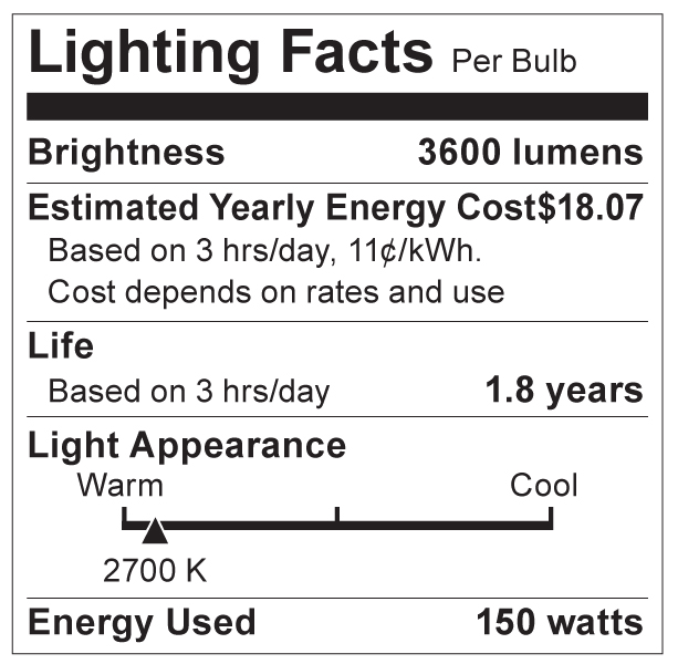 S3479 Lighting Fact Label