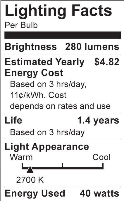 S3605 Lighting Fact Label