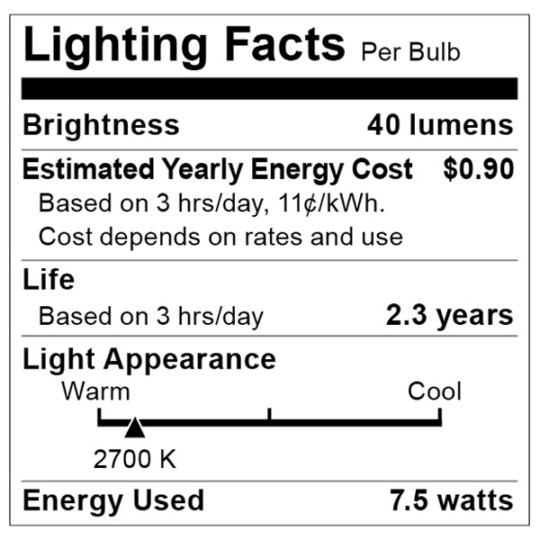 S3606 Lighting Fact Label