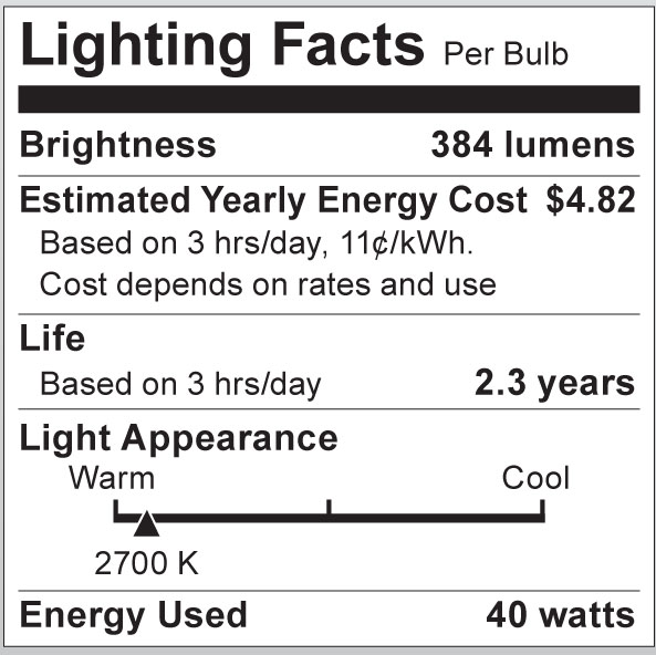 S3652 Lighting Fact Label