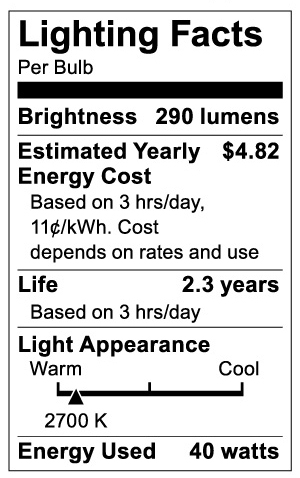 S3720 Lighting Fact Label