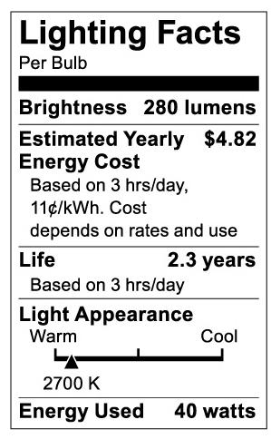 S3721 Lighting Fact Label