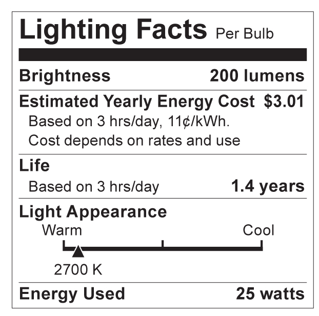 S3734 Lighting Fact Label