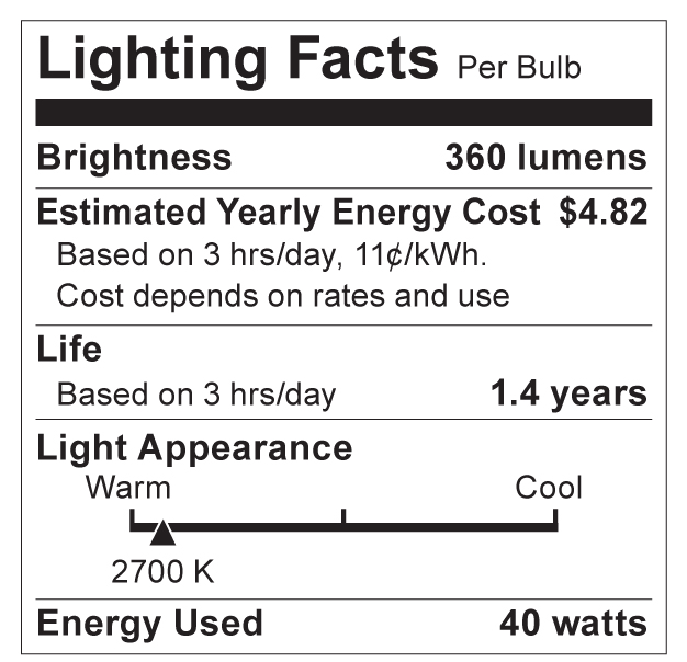 S3735 Lighting Fact Label