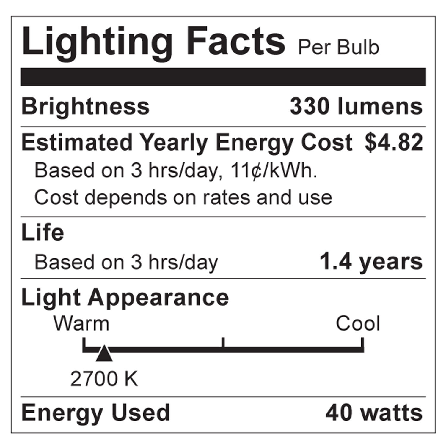 S3738 Lighting Fact Label