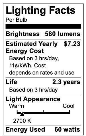 S3739 Lighting Fact Label
