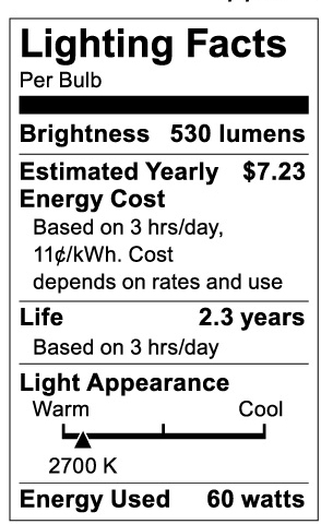 S3740 Lighting Fact Label