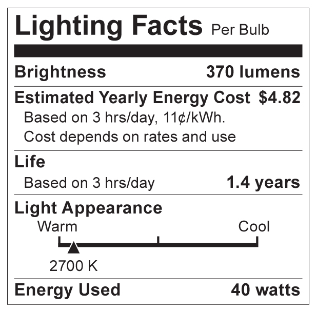 S3765 Lighting Fact Label