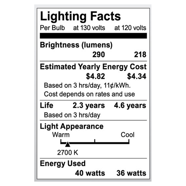S3810 Lighting Fact Label