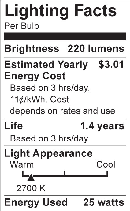 S3838 Lighting Fact Label