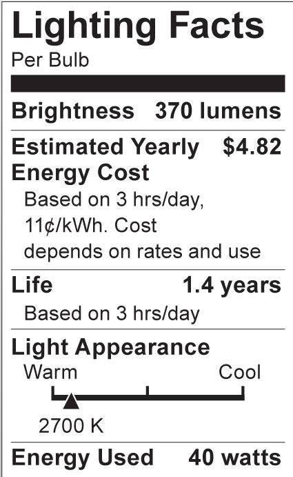 S3839 Lighting Fact Label