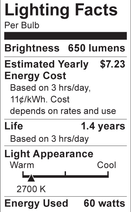 S3840 Lighting Fact Label
