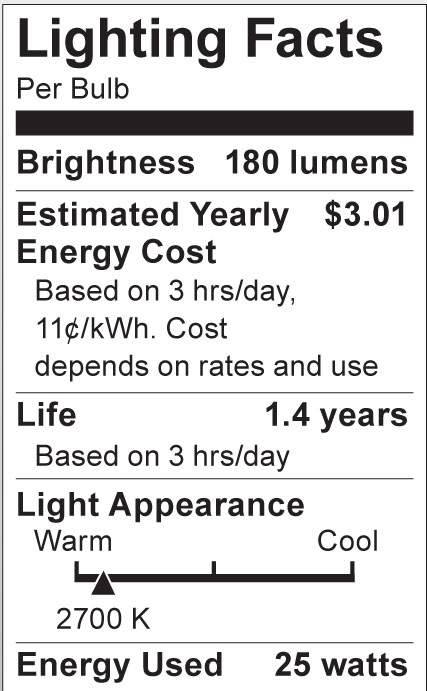 S3841 Lighting Fact Label