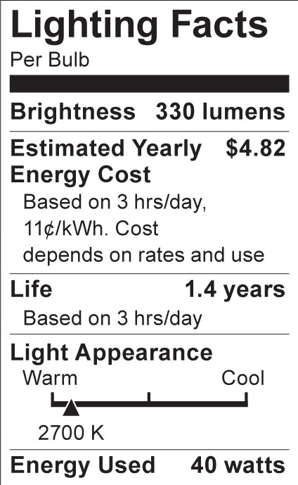 S3842 Lighting Fact Label