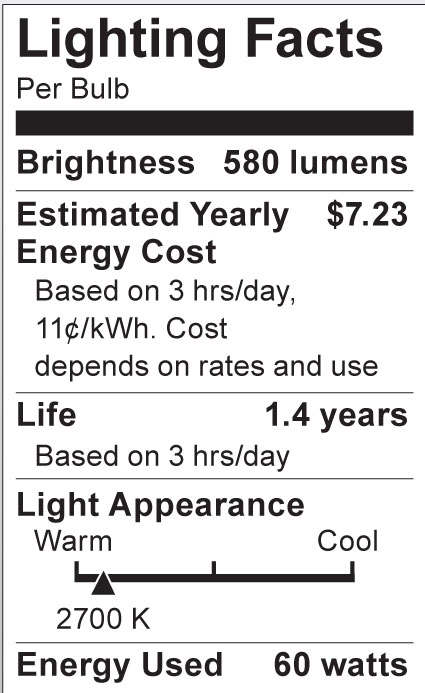 S3843 Lighting Fact Label