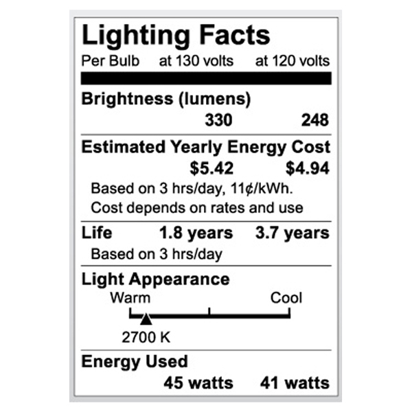 S3849 Lighting Fact Label