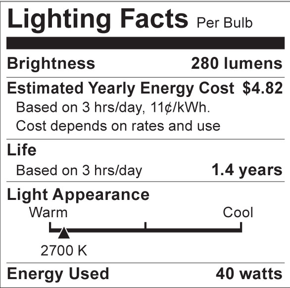 S3861 Lighting Fact Label