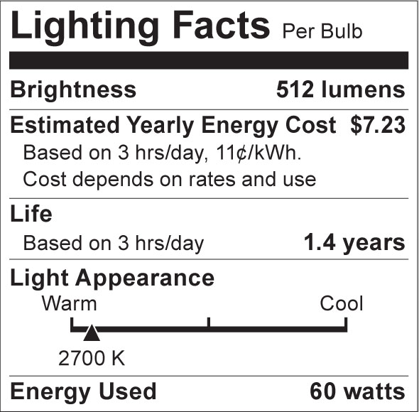 S3862 Lighting Fact Label
