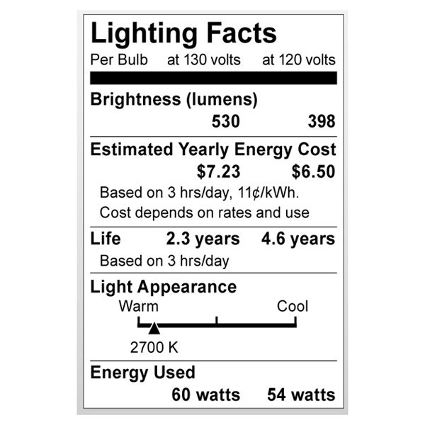S3871 Lighting Fact Label