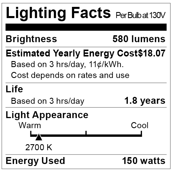 S3955 Lighting Fact Label