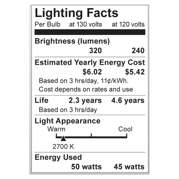 S3969 Lighting Fact Label