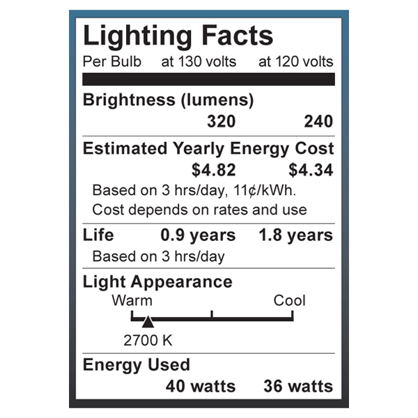 S4020 Lighting Fact Label