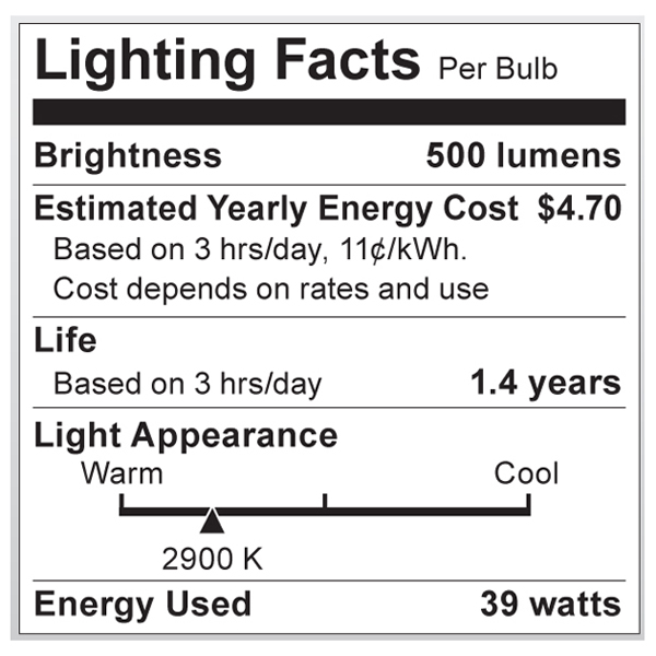 S4130 Lighting Fact Label