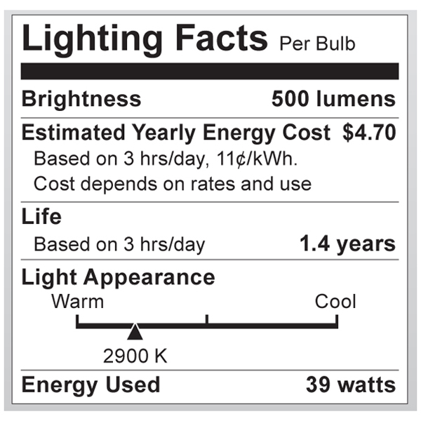 S4133 Lighting Fact Label