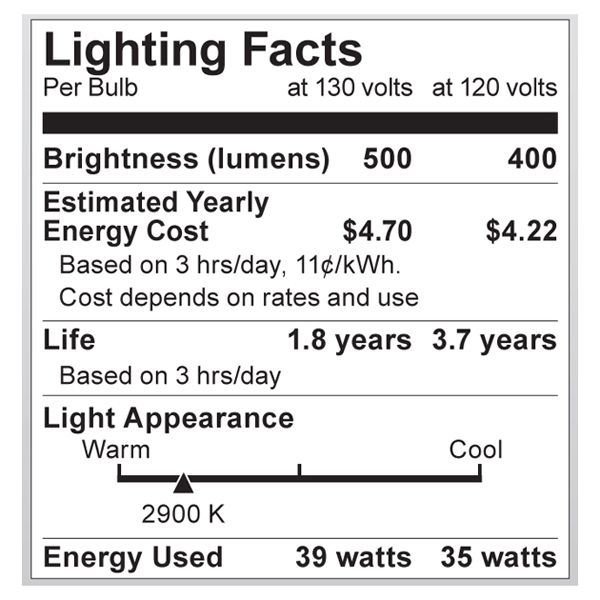 S4211 Lighting Fact Label