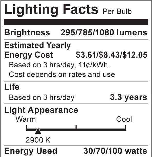 S4505 Lighting Fact Label