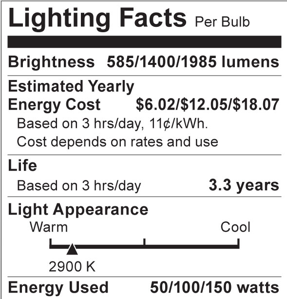 S4506 Lighting Fact Label