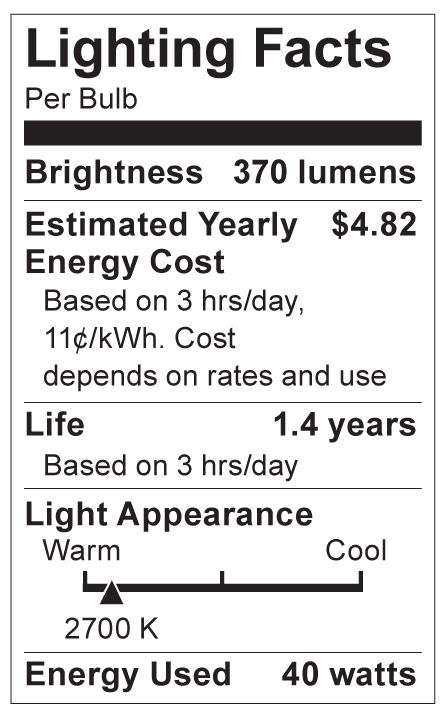 S4539 Lighting Fact Label