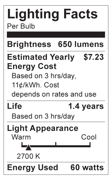S4540 Lighting Fact Label