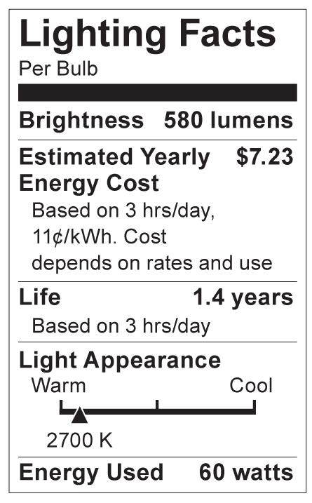 S4543 Lighting Fact Label