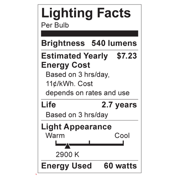 S4600 Lighting Fact Label