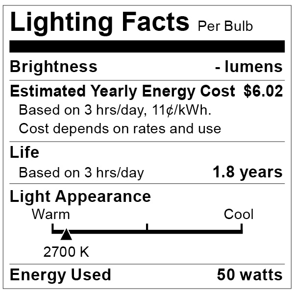 S4625 Lighting Fact Label
