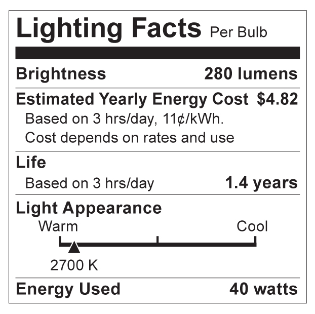 S4702 Lighting Fact Label
