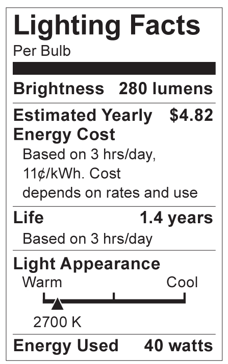 S4705 Lighting Fact Label
