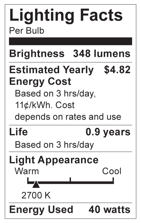 S4709 Lighting Fact Label
