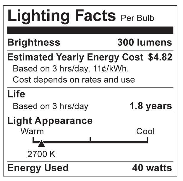 S4740 Lighting Fact Label