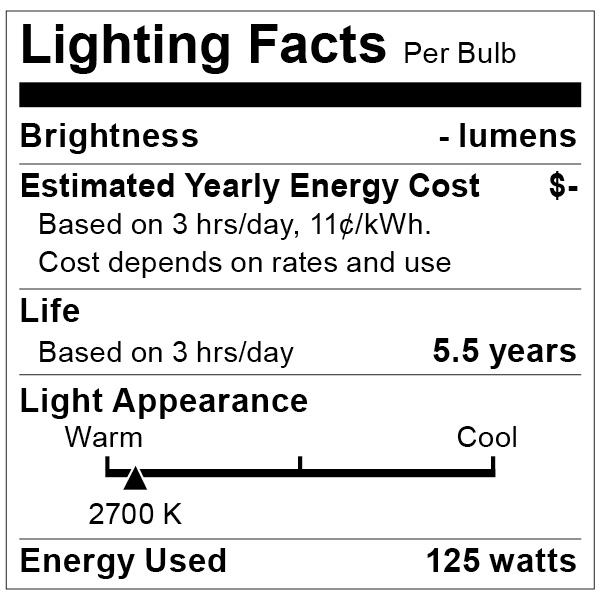 S4750 Lighting Fact Label