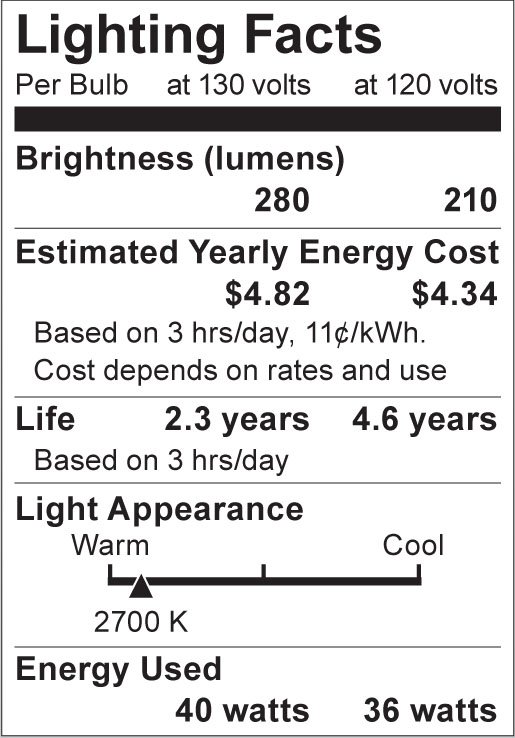 S4881 Lighting Fact Label