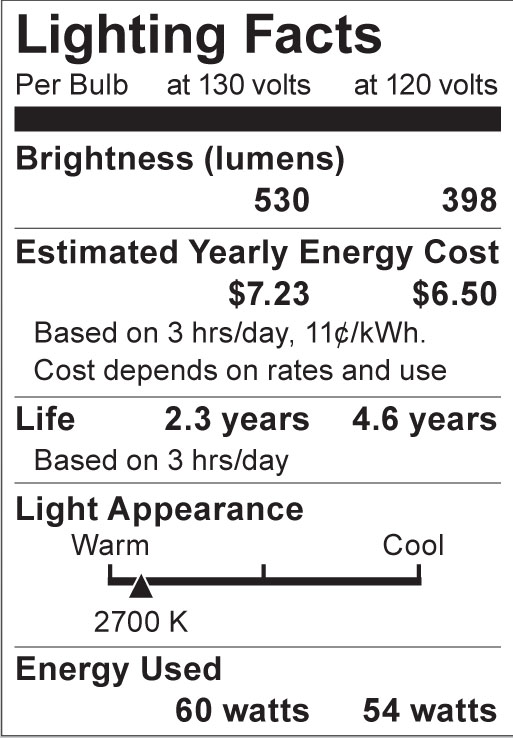 S4882 Lighting Fact Label