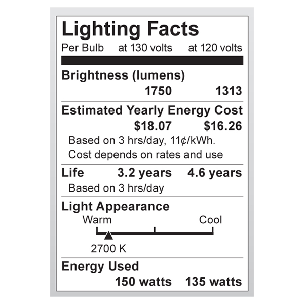 S4883 Lighting Fact Label