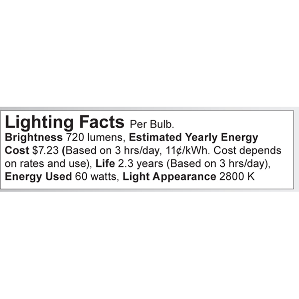 S4997 Lighting Fact Label