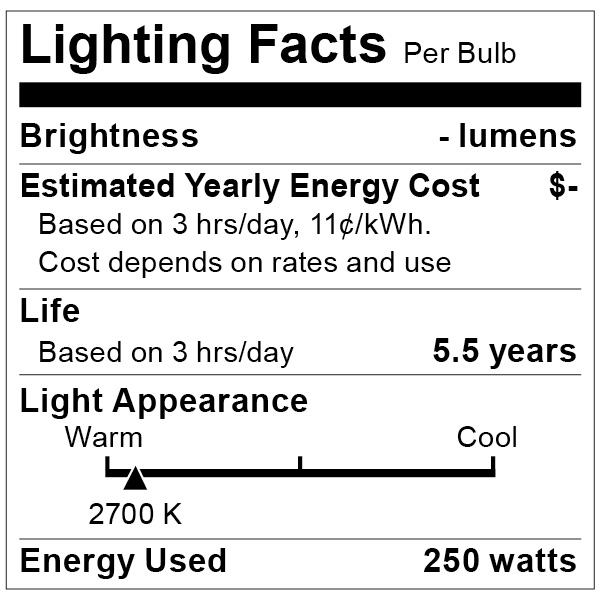 S4999 Lighting Fact Label
