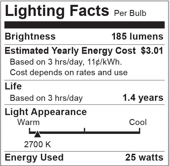 S6040 Lighting Fact Label