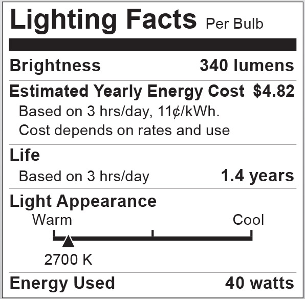 S6041 Lighting Fact Label