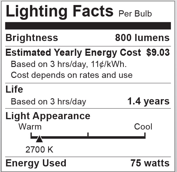 S6043 Lighting Fact Label