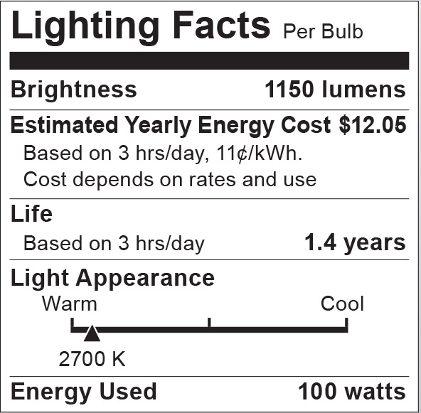 S6044 Lighting Fact Label